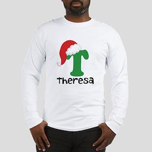 Christmas Santa Hat T Monogram Long Sleeve T-Shirt