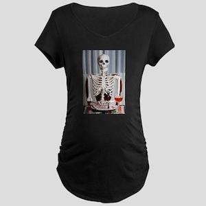 Skinny Skelton at Dinner Maternity T-Shirt