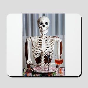 Skinny Skelton at Dinner Mousepad