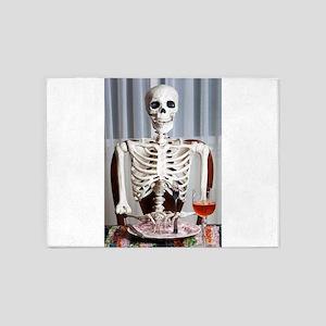 Skinny Skelton at Dinner 5'x7'Area Rug