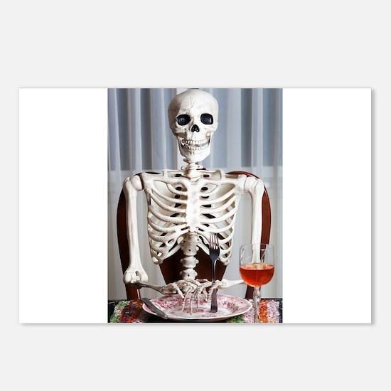 Skinny Skelton at Dinner Postcards (Package of 8)