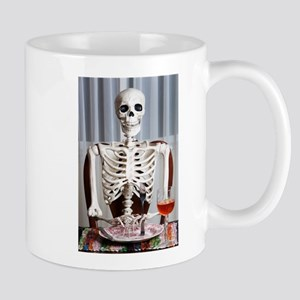 Skinny Skelton at Dinner Mugs