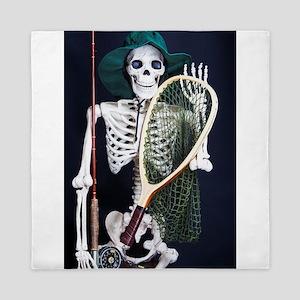 Skinny Skeleton Goes Fishing Queen Duvet