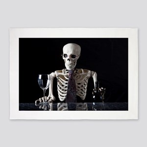 Skinny Skeleton Tends Bar 5'x7'Area Rug