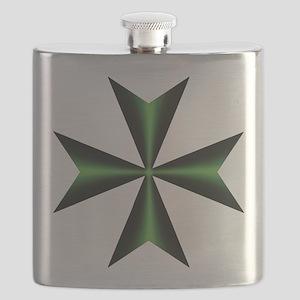 Green Maltese Cross Flask