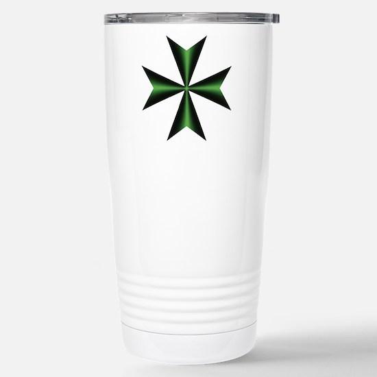 Green Maltese Cross Stainless Steel Travel Mug