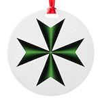Green Maltese Cross Round Ornament
