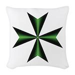Green Maltese Cross Woven Throw Pillow
