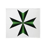 Green Maltese Cross Throw Blanket
