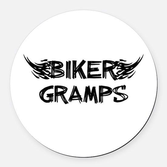 Biker Gramps Round Car Magnet