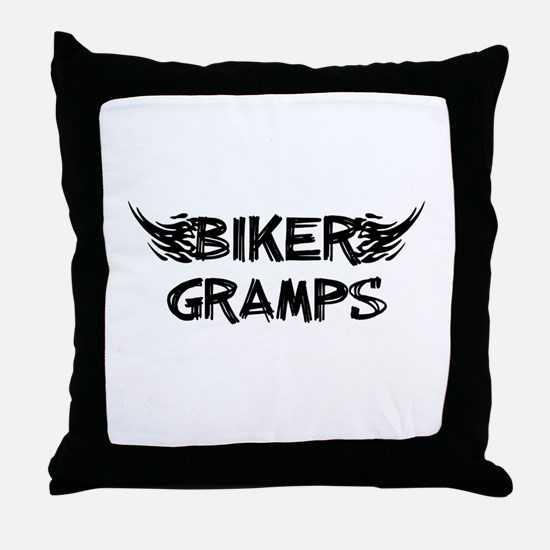Biker Gramps Throw Pillow