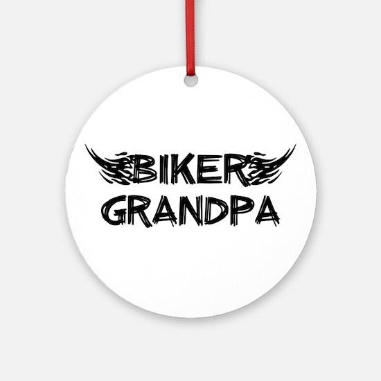 Biker Grandpa Ornament (Round)