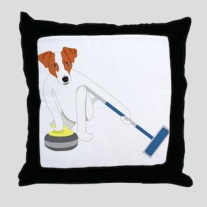 Jack Russell Terrier Curling Throw Pillow