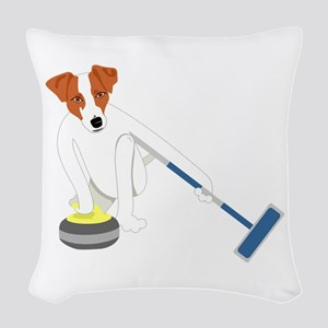 Jack Russell Terrier Curling Woven Throw Pillow