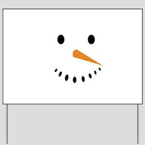 Snowman's Face Yard Sign