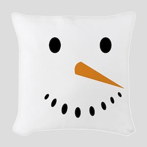 Snowman's Face Woven Throw Pillow