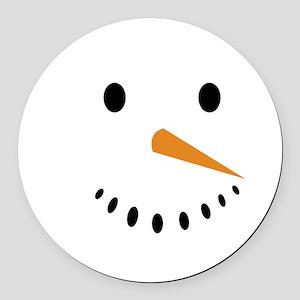 Snowman's Face Round Car Magnet