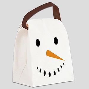 Snowman's Face Canvas Lunch Bag