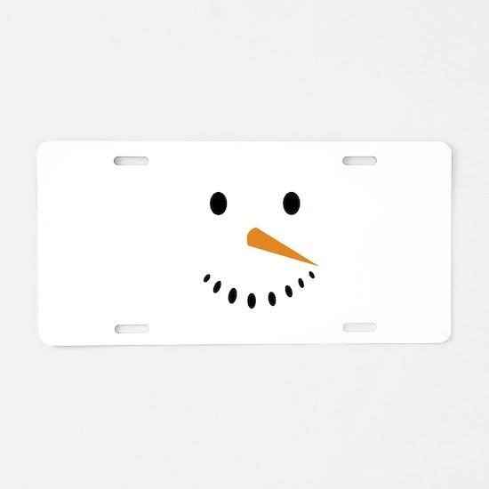 Snowman's Face Aluminum License Plate