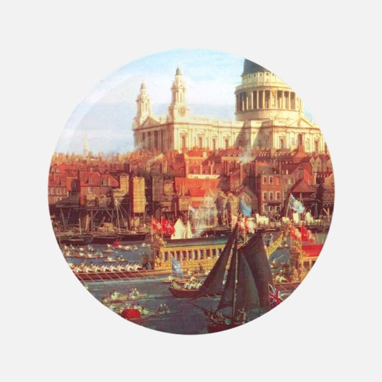 "London boats on River by Canaletto 3.5"" Button"