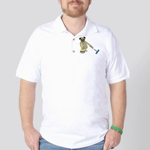 Pug Curling Golf Shirt