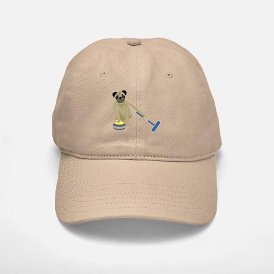Pug Curling Baseball Baseball Cap