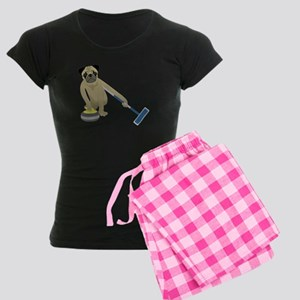 Pug Curling Women's Dark Pajamas