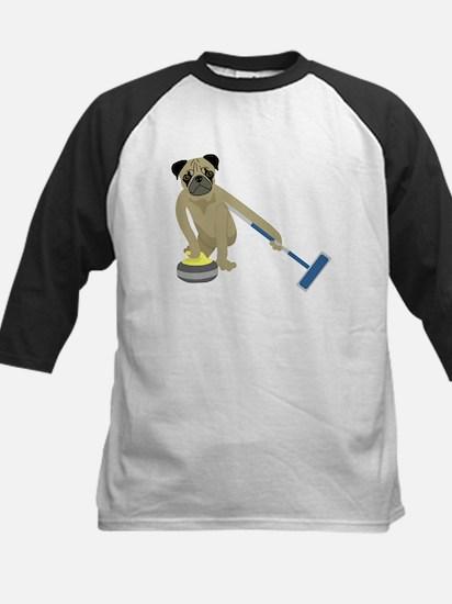 Pug Curling Kids Baseball Jersey