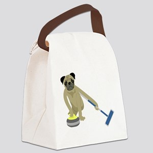 Pug Curling Canvas Lunch Bag