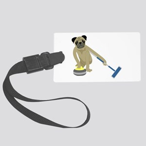 Pug Curling Large Luggage Tag