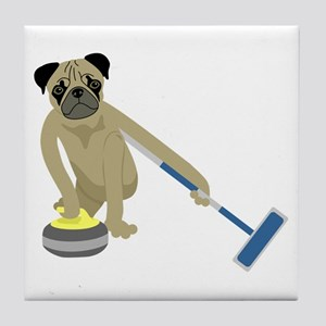 Pug Curling Tile Coaster