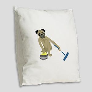 Pug Curling Burlap Throw Pillow