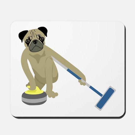 Pug Curling Mousepad