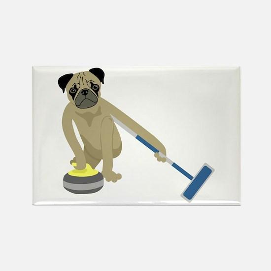 Pug Curling Rectangle Magnet