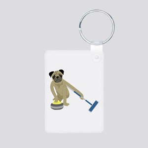 Pug Curling Aluminum Photo Keychain
