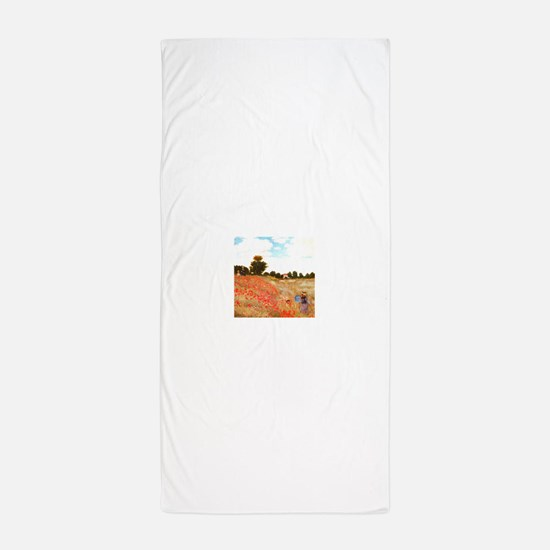 Poppy Field by Claude Monet Beach Towel