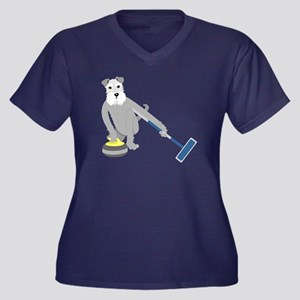 Schnauzer Curling Women's Plus Size T-Shirt