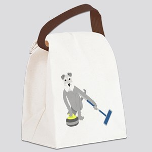 Schnauzer Curling Canvas Lunch Bag