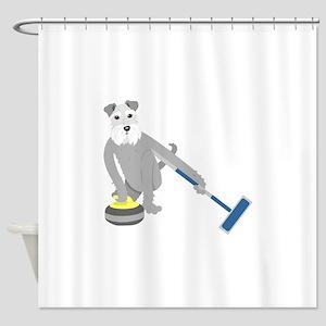Schnauzer Curling Shower Curtain