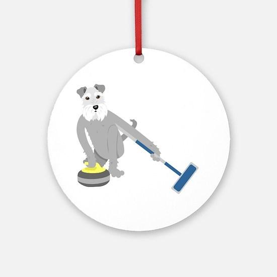 Schnauzer Curling Ornament (Round)