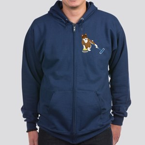 Shetland Sheepdog Curling Zip Hoodie (dark)