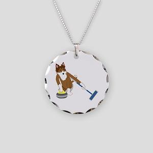 Shetland Sheepdog Curling Necklace Circle Charm