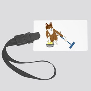 Shetland Sheepdog Curling Large Luggage Tag