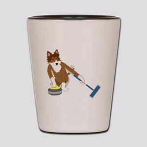 Shetland Sheepdog Curling Shot Glass