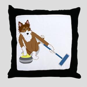 Shetland Sheepdog Curling Throw Pillow