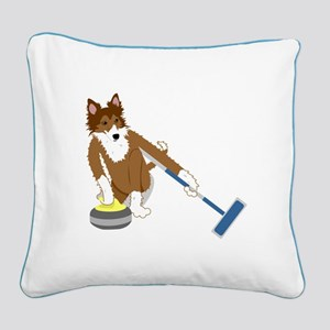 Shetland Sheepdog Curling Square Canvas Pillow