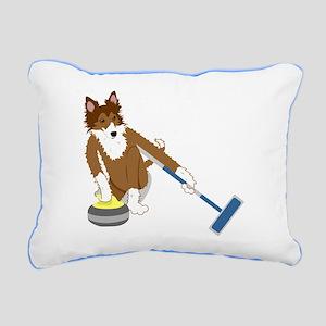Sheltie Curling Rectangular Canvas Pillow