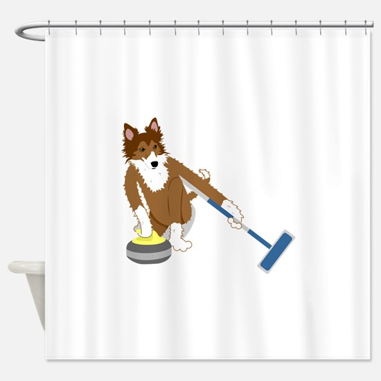Shetland Sheepdog Curling Shower Curtain