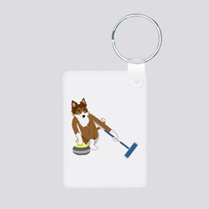 Shetland Sheepdog Curling Aluminum Photo Keychain