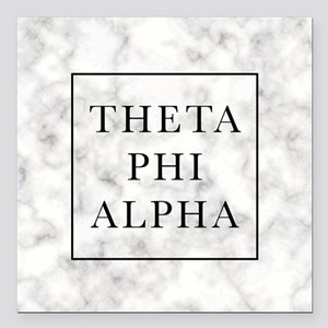 "Theta Phi Alpha Marble F Square Car Magnet 3"" x 3"""